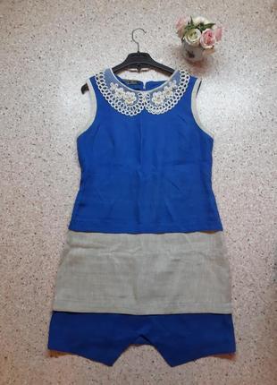 Платье синее из льна