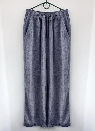 Натуральные легкие штаны из льна и хлопка, летние льняные голубые брюки