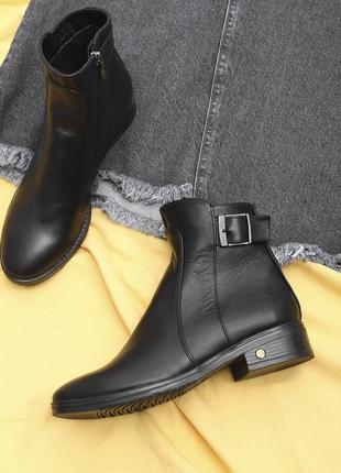 Кожаные женские черные демисезонные ботинки низкий каблук натуральная кожа