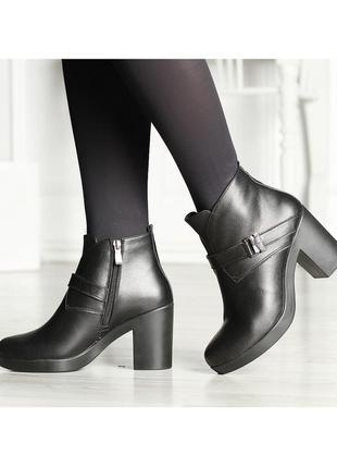Кожаные женские черные весенние ботинки на устойчивом каблуке натуральная кожа