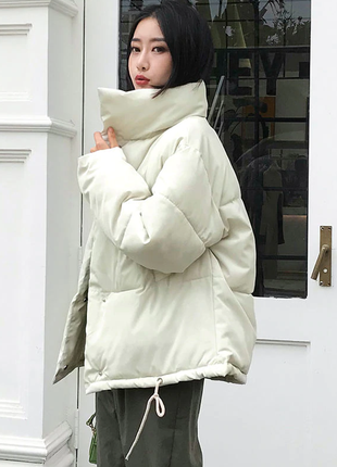 Куртка пуховик пухан пуфер пуффер теплая оверсайз объемная стильная молочная новая