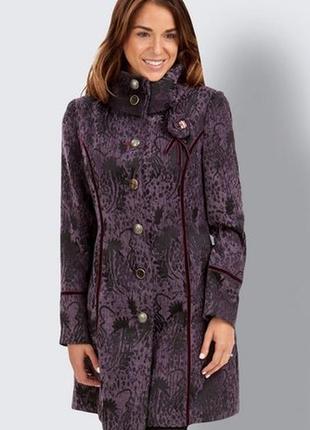 Брендовое фиолетовое демисезонное пальто с карманами joe browns вискоза этикетка