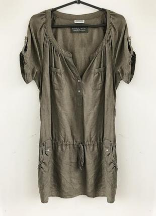 Базовое платье - туника из льна, льняная рубашка, лляная льон linen