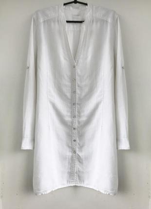 Базовая белая туника - платье из льна, лляная туника - балахон, льон linen