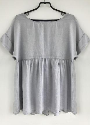 Стильная серо - лиловая льняная туника - блуза, балахон из льна, льон linen