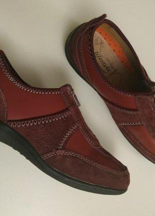 Cushion walk  кожаные комфортные туфли мокасины  24.5 см стелька