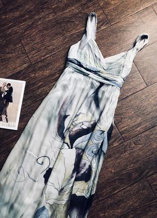 Шикарное длинное шелковое платье