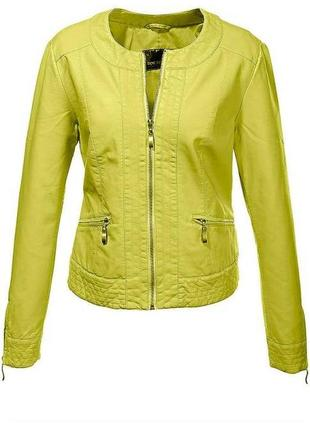 Лимонно-лаймовая куртка из эко кожи  размер 20-22