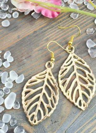 Нежные серьги ручной работы осенние листья в золоте