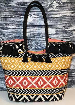 Вышитая сумка шоппер la redoute