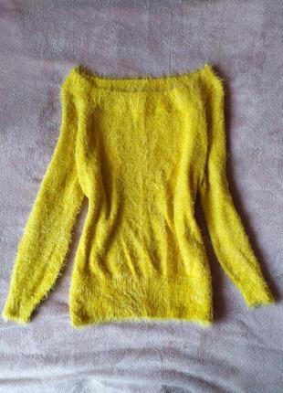 Шикарный , горчичный, удлиненный оверсайз свитер wild flower
