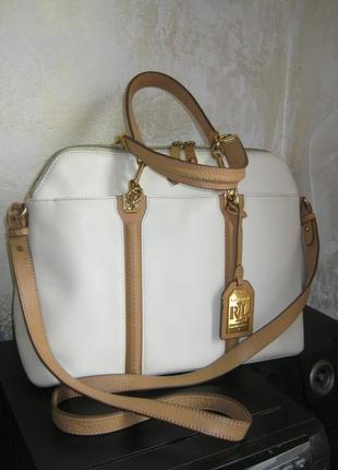 Polo ralph lauren оригинал отличная кожаная сумка саквояж натуральная кожа