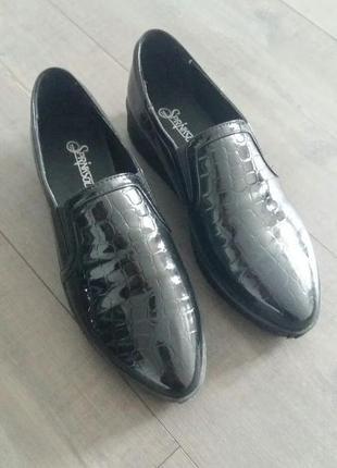 Черные крокодиловые туфли слипоны1