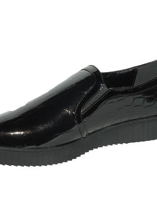 Черные крокодиловые туфли слипоны3