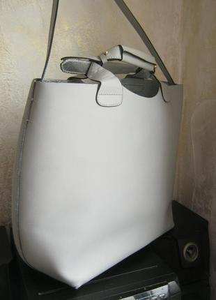Zara легендарная кожаная сумка шоппер очень легкая кожа бизона держит форму