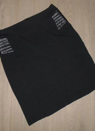 Юбка мини со встаками еко-кожи/кожзам/спідниця міні з еко-шкірою