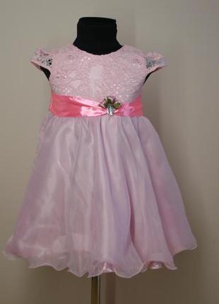 Платье нарядное розового цвета р.98-104