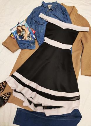 Misslook платье стрейчевое вечернее чёрное белое ассиметрия