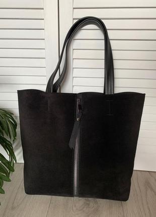 Новая большая сумка из натуральной замши