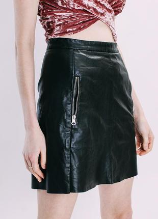 Кожаная юбка черная, юбка из экокожи, спідниця єко шкіра, женская юбка трапеция