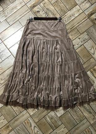 Пышная ярусная юбка,а-ля замшевая,цвет капучино!!