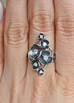 Серебряное кольцо сакура р.19