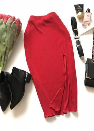 Стильная фактурная юбка длины миди от h&m с разрезом .  л