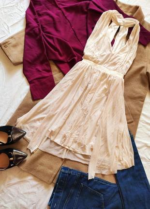 Платье белое айвори молочное с вырезом на спине воздушное асос asos