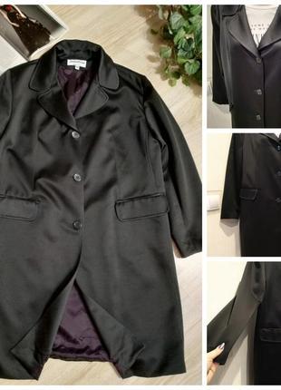 Стильный длинный черный плащ-трэнч кардиган пиджак-жакет