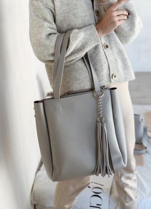 Объемная сумка 2 в 1: шоппер и клатч с длинным ремешком, серый