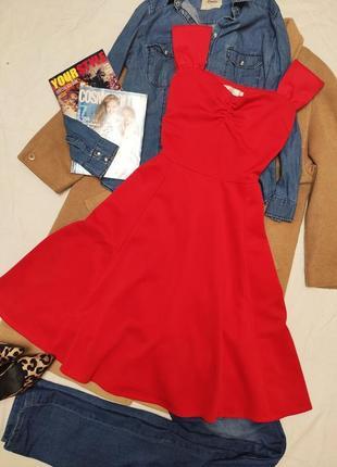 Geilihamai красное алое платье со свободной юбкой миди вечернее эластичное