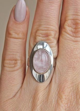 Серебряное кольцо монтана роз.кварц р.17