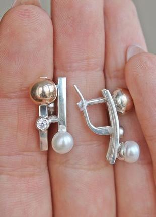 Серебряные серьги боа