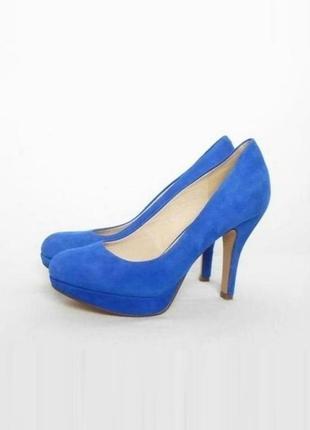 Синие замшевые кожаные классические туфли лодочки по приятной цене