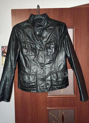 Натуральная 100% кожаная куртка пиджак