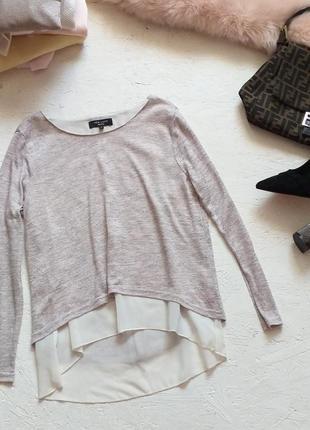 Стильная трикотажная блуза со вставками из шифона на спинке молния от atmosphere
