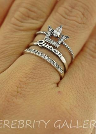 10% скидка - подписчикам! стильное кольцо 3 в 1 кольцо серебряное размер 16,5. i 162366 w