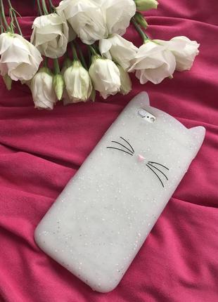 Iphone 6/6s чехол котик белый с ушками блестящий 5/5s розовый hts one mini 2 сова