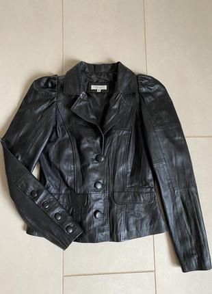 Жакет дизайнерский кожаный ретро стиль дорогой бренд magrit brandt размер s/m