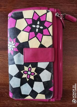 Большой разноцветный кожаный кошелёк