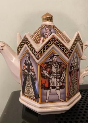 Винтажный фарфоровый английский чайник sadler king henry viii and his six wives #4440