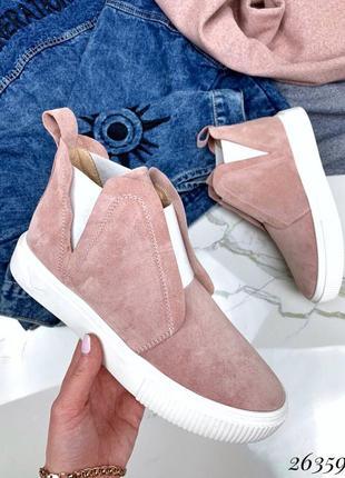 Женские демисезоные натуральные замшевые ботинки ботильоны хайтопы