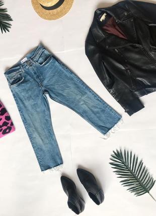Шикарные укорочённые плотные джинсы от zara из недавних коллекций.