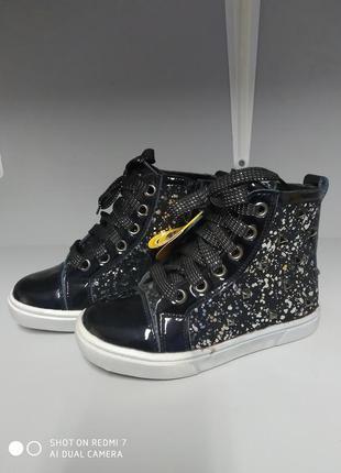 Демисезонные ботинки clibee р.27-17,8 см h 139 черный с серебром