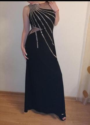 Вечернее нарядное платье длинное с паетками сеткой