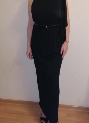 Вечерние платье с рушой класика длинное с разрезом от колен