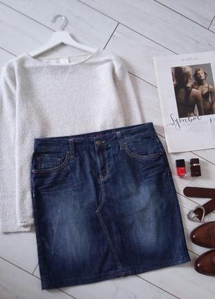 Стильная джинсовая юбка миди карандаш ...# 340