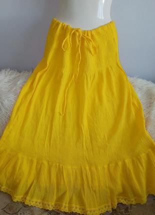 Хлопковая жёлтая  юбка, atmosphere, р. 12-14/l-xl