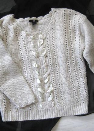 Толстый свитер кофта джемпер h&m акрил шерсть молочный белый вязаный с декором