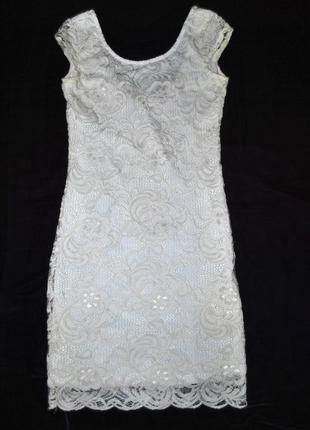 Платье h&m швеция xs-s роскошное нарядное белое ажурное нежное женственное6 фото